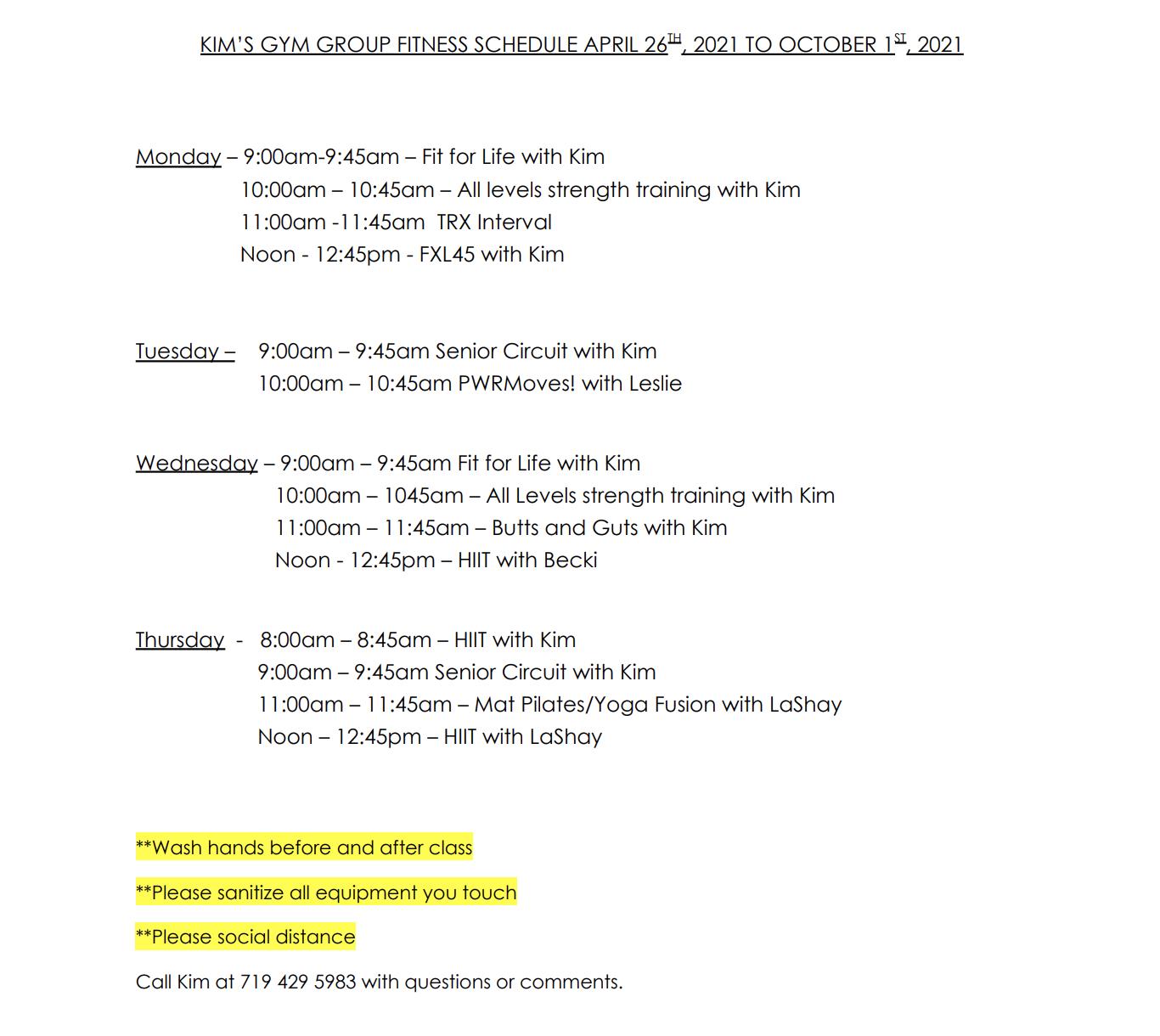 Kims gym aerobics schedule